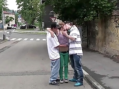 Young hot teen Alexis Crystal PUBLIC gangbang sex orgy wth young guys