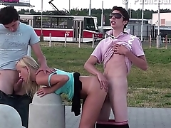 3 teens with a very cute young blonde girl PUBLIC threesome sex orgy