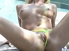 Blonde in Swimming Pool with Yellow Bikini