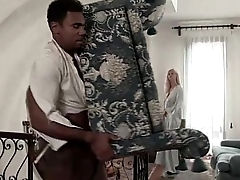 Black servant seduced overwrought her hot blonde landlady in sexy lingerie