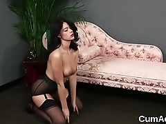 Horny stunner gets sperm load on her face swallowing all the cum