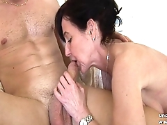 Naughty french mom cougar fucked by a small fry and plugged and fisted by a girl