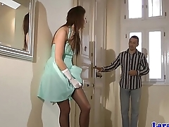 Highheeled mature plowed on the floor