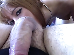 Kitty Lovedream sucks nicely upstairs a big cock and get a huge facial
