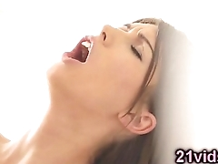 Stunning young brunette pussy play