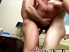 Blonde babe blowjob double penetration threesome