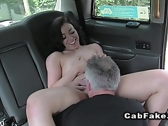 Naked neighbour sucks cock to fake taxi driver