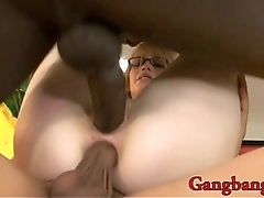 Cute Allie James with glasses double banged by hard BBC