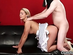 Hot centerfold gets cumshot on their way face gulping all the spunk