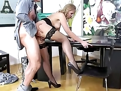 Fake Boss screwing hot blonde in the office