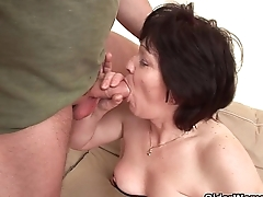 Hairy milf Eva gets her pussy creamed