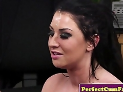 Busty cum loving babe sucking before facial