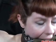Analtoyed sub restrained by her redhair