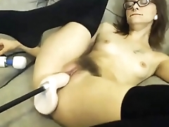 Slutty Brunette in Glasses Gets Lasting Machine Roger - Live readily obtainable FAQcams.com