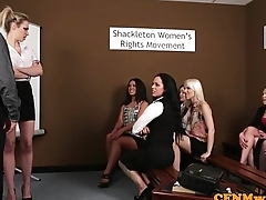 CFNM femdoms humiliating prick more group