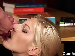 Spicy sex kitten gets jizz shot on her element swallowing all the cream