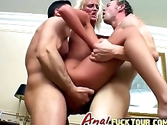 Blonde bitch gets her both holes fucked in nasty threesome