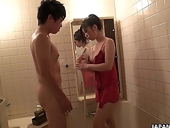 His down in the mouth Asian wife Yuka getting her pussy eaten