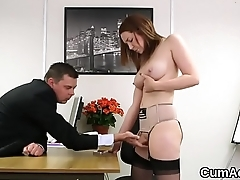 Unusual centerfold gets cumshot on her face eating all the jizz