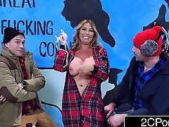 Exotic Canadian MILF Kianna Dior Takes Two Cocks During a TV Show