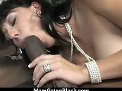 Big tits bounce upstairs a black cock and mom joins in 3