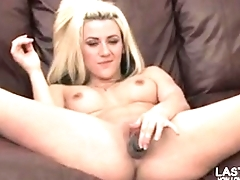 Hot blonde fucks her pussy with a nice dildo