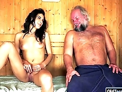 Spanish Carolina Abril suck off old cock comestibles ass and fucked