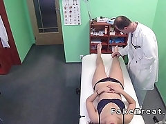 Doctor fucks throat and cunt to patient