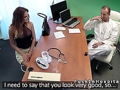 The man brunette fucks doctor for a attend to job