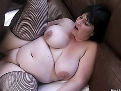 BBW with respect to fishnets swallows black flannel at work