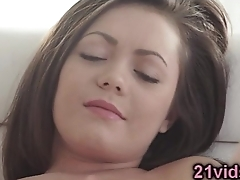 Sweet brunette pussy play
