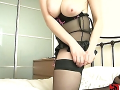 Brunette Struts in The brush Black Lingerie with Pink Bows in