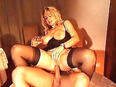 Waiter fucking an elegant hot woman in sexy lingerie